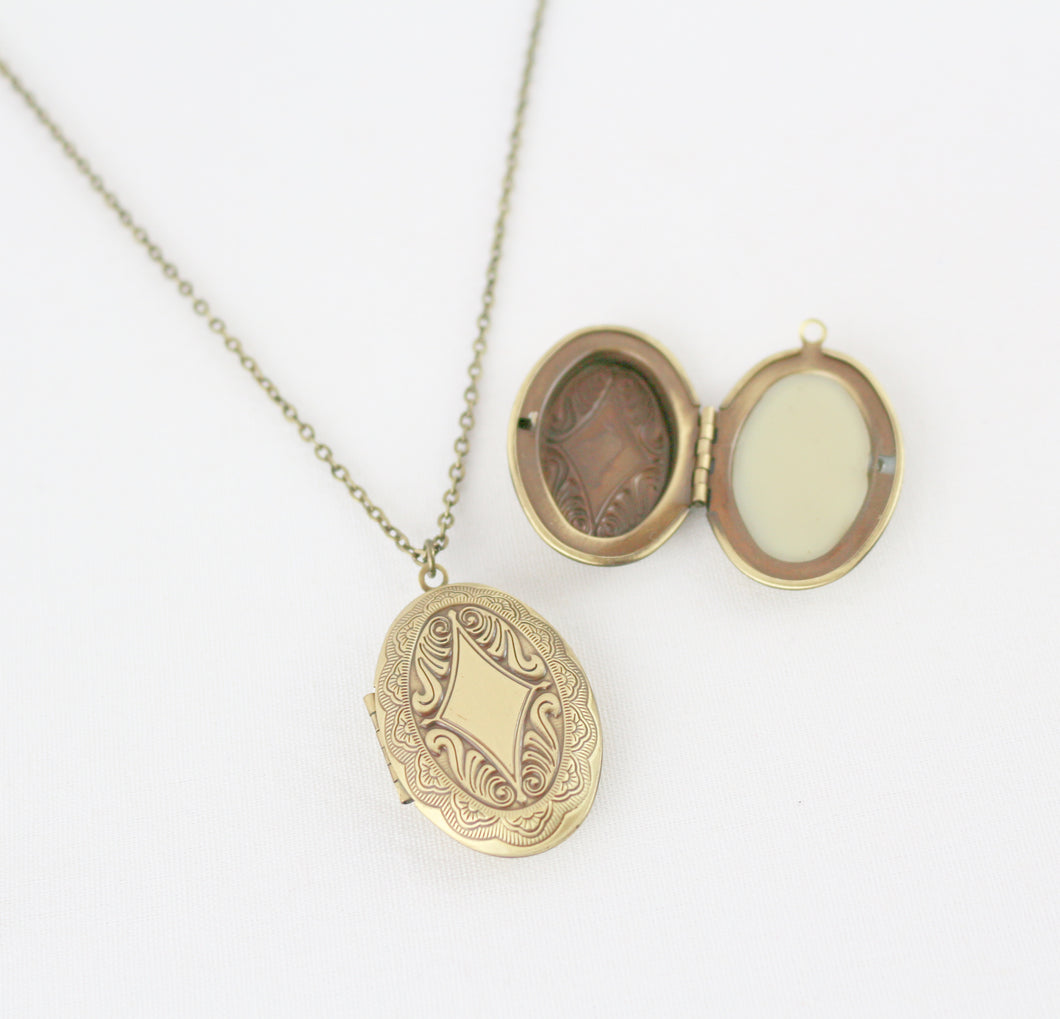 Solid Perfume Locket Necklace (Small Bronze Oval on 18-inch Chain)