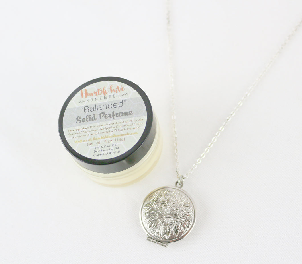Solid Perfume Locket Necklace & Jar of Perfume (Silver Circular Locket on Silver Chain)