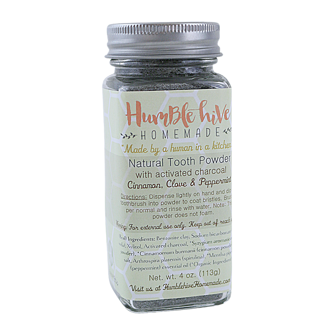 Natural Tooth Powder with Activated Charcoal (4 oz.)- Cinnamon, Clove & Peppermint