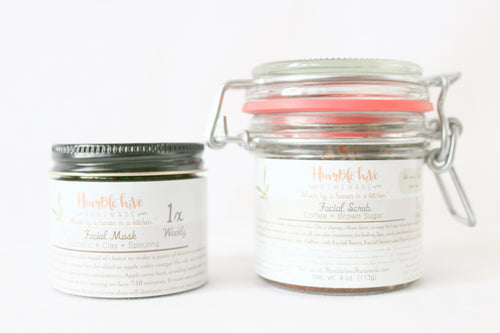 Weekly Skin Care Set- (4 oz.) Coffee + Brown Sugar Scrub & (2 oz.) Turmeric + Clay + Spirulina Face Mask