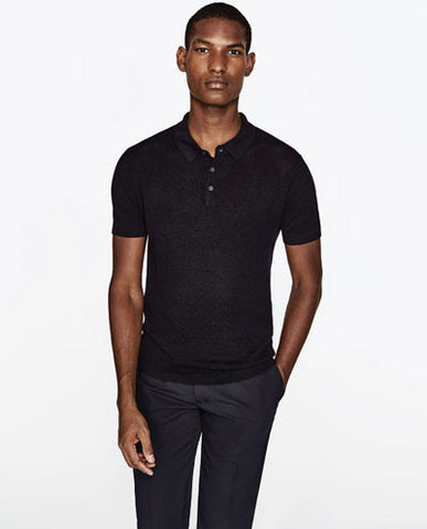 POLO SHIRT WITH OPENWORK ZARA - بولو شيرت من زارا