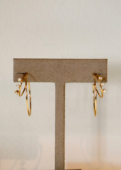 Zoe Chicco 14k Three Prong Diamond Hoops