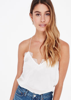 Cami NYC Racer Charmeuse White