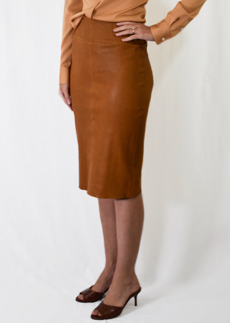 SPRWMN Leather Pencil Skirt Carmel