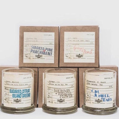 Banned Books Literary Candle Collection -- Vintage Library Card Candle Label Design