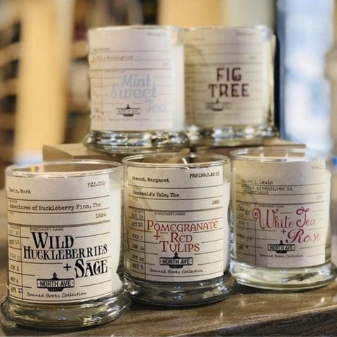 Scented Book Candles with Vintage Library Card Labels -- unique gifts for bookworms