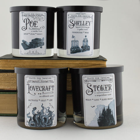 Masters of the Macabre Bookish Candle Collection - Edgar Allan Poe, Bram Stoker, Mary Shelley, and HP Lovecraft