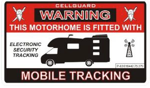 Warning Tracking Sticker -Motorhome