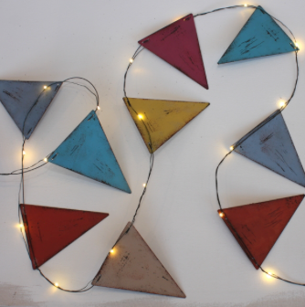 Glam your Glamping with Multi Coloured Bunting - Metal