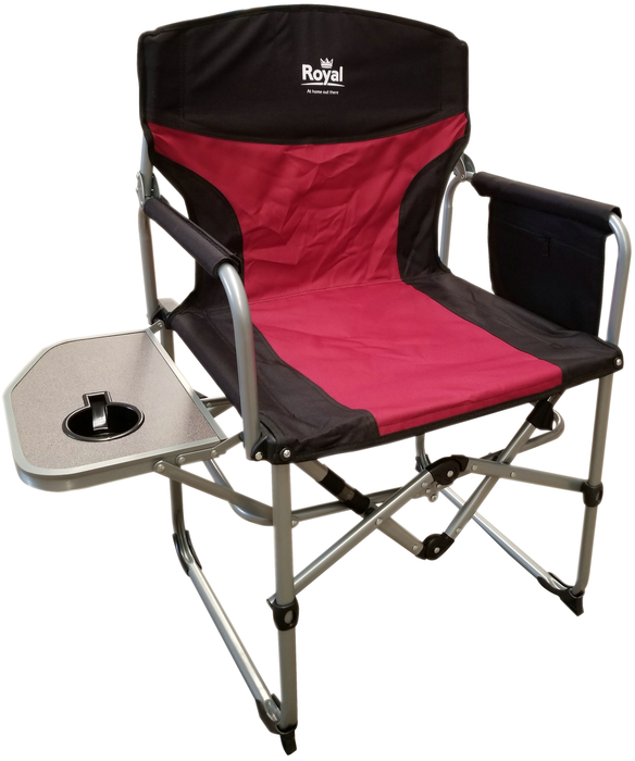 Royal - Compact Directors Camping Chair with Table - Burgundy/Black