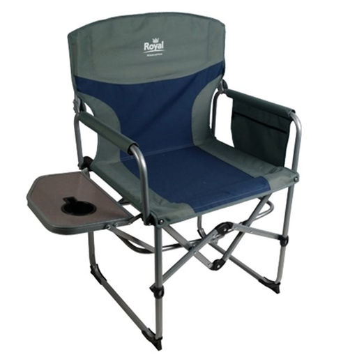 Royal - Compact Directors Camping Chair with Table - Blue/Silver