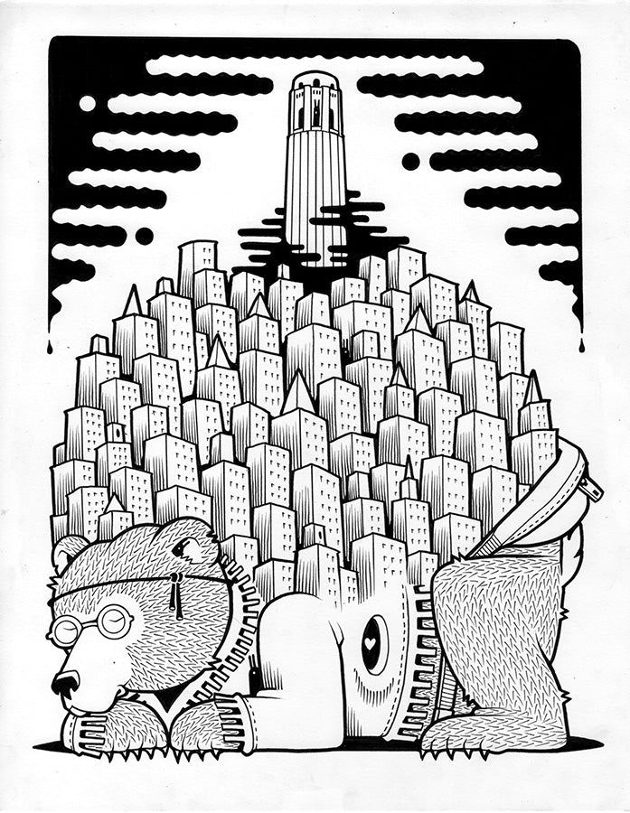 "Jeremy Fish ""Telegraph Hill Dweller"" Print"