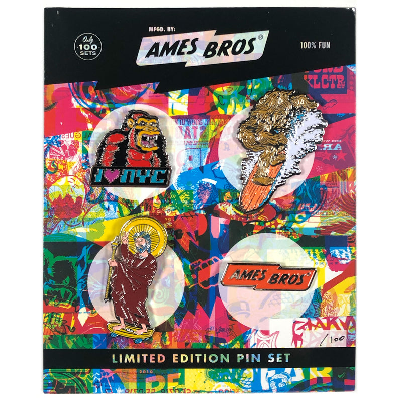 Kong, Surf Squatch, Jesus Skates, and Ames Bolt Enamel Pin Pack