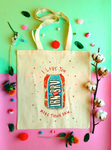 I love you more than bru Tote Bag