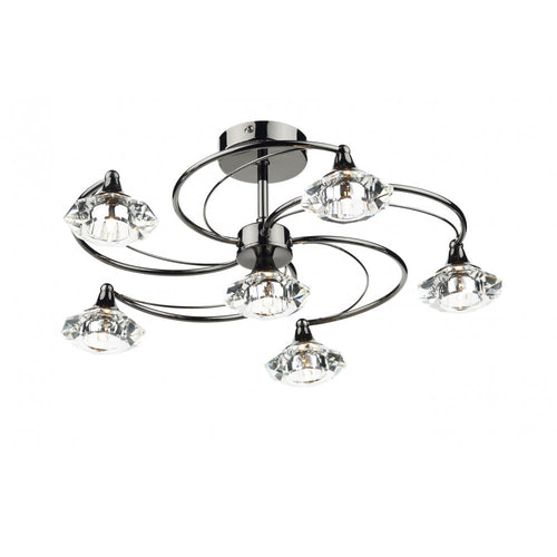 Luther 6 Light Semi Flush Complete With Crystal Glass Black Chrome