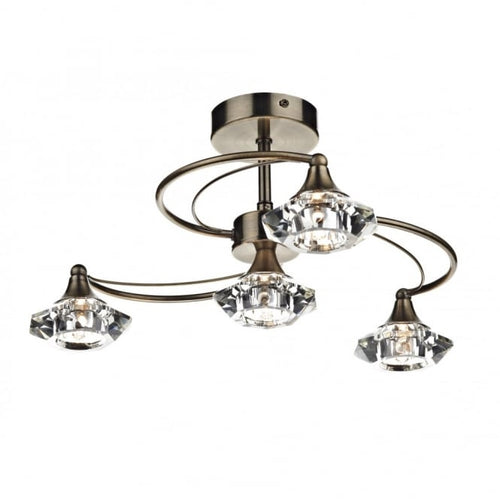 Luther 4 Light Semi Flush Complete With Crystal Glass Antique Brass