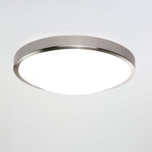 Osaka 350 LED Flush Ceiling Light Brushed Nickel IP44