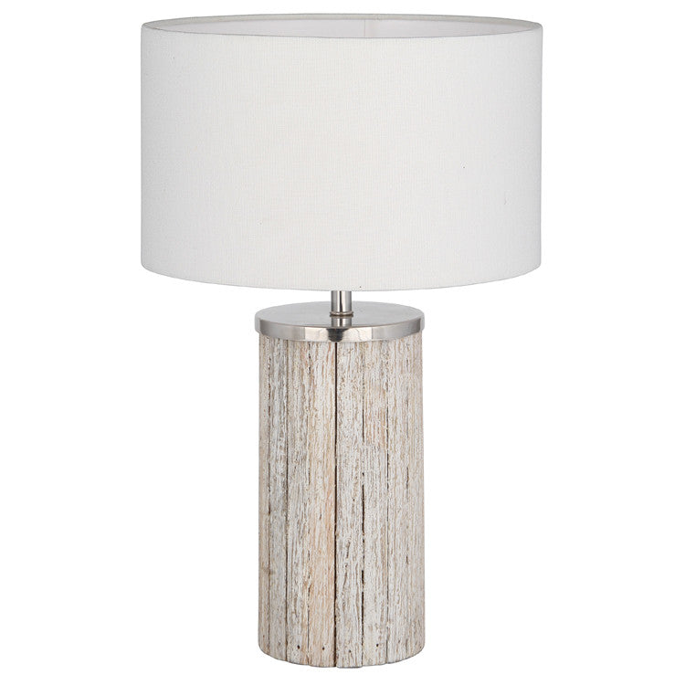 Grey Wash Wood Column Lamp Complete