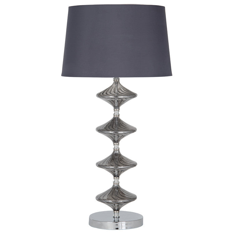 Metal & Grey Glass Table Lamp Complete