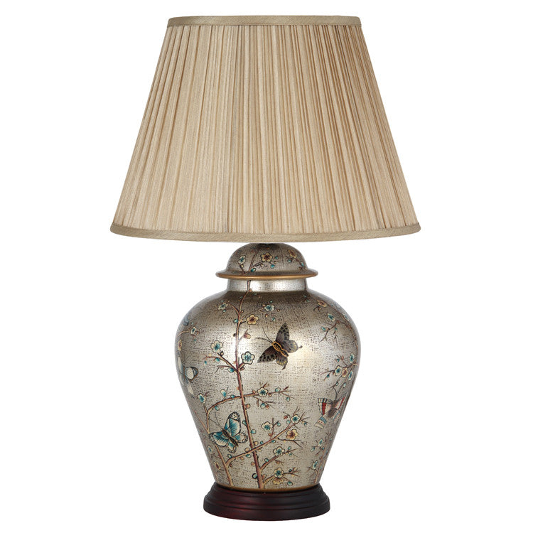 Patterned Ceramic Table Lamp with Shade