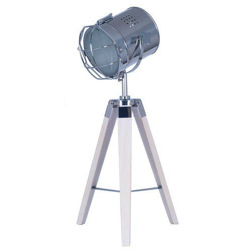 White Wash Wood Tri Pod Lamp with Chrome Detail