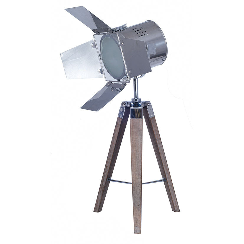 Wooden Tripod Lamp with Chrome Film Light Shade