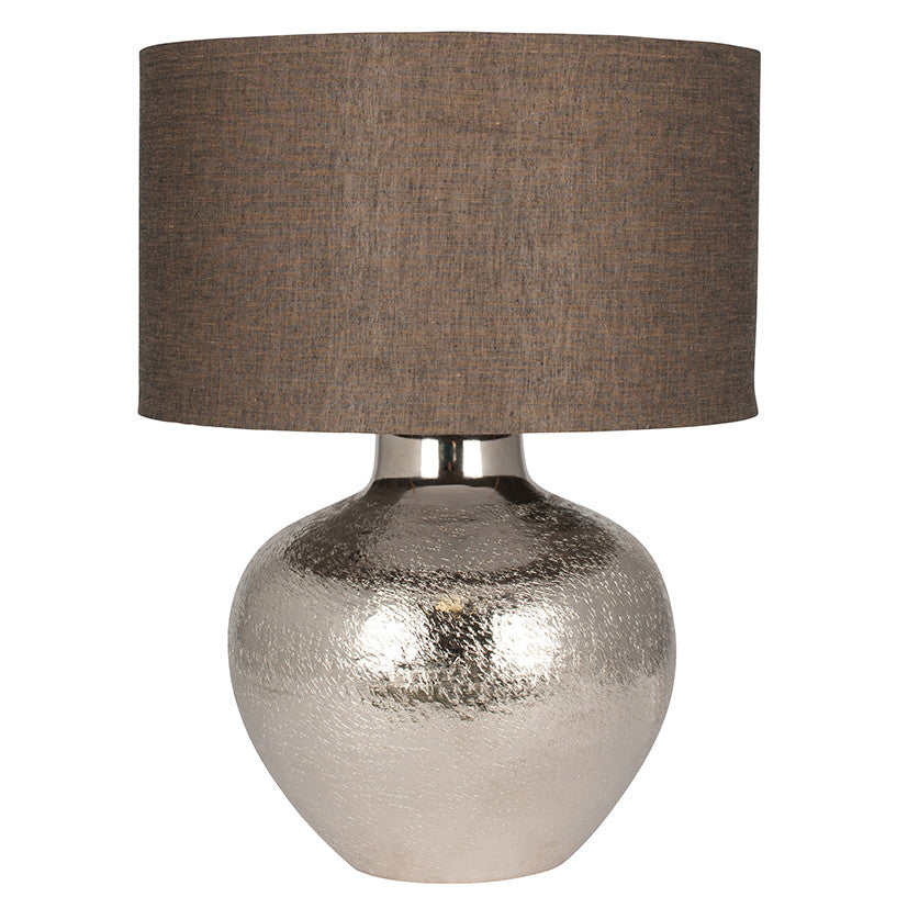 Nickel Etch Pot Table Lamp & Cotton Shade
