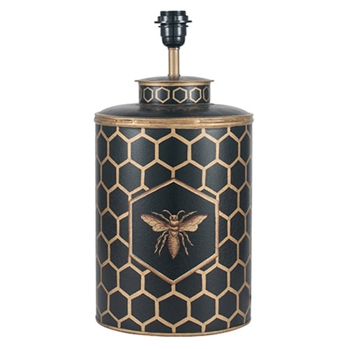 Black Honeycomb HAndpainted Lamp Base