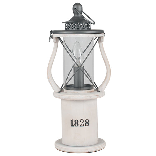 White Wooden Table Lamp Lantern