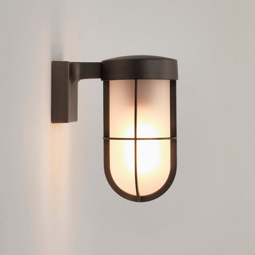 Cabin Frosted 1 Light Outdoor Wall Light Bronze