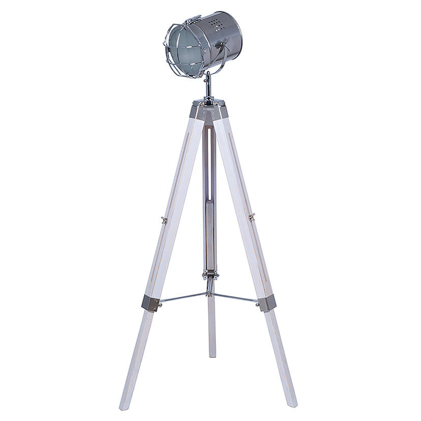 White Wash Tripod Floor Lamp with Chrome Detail