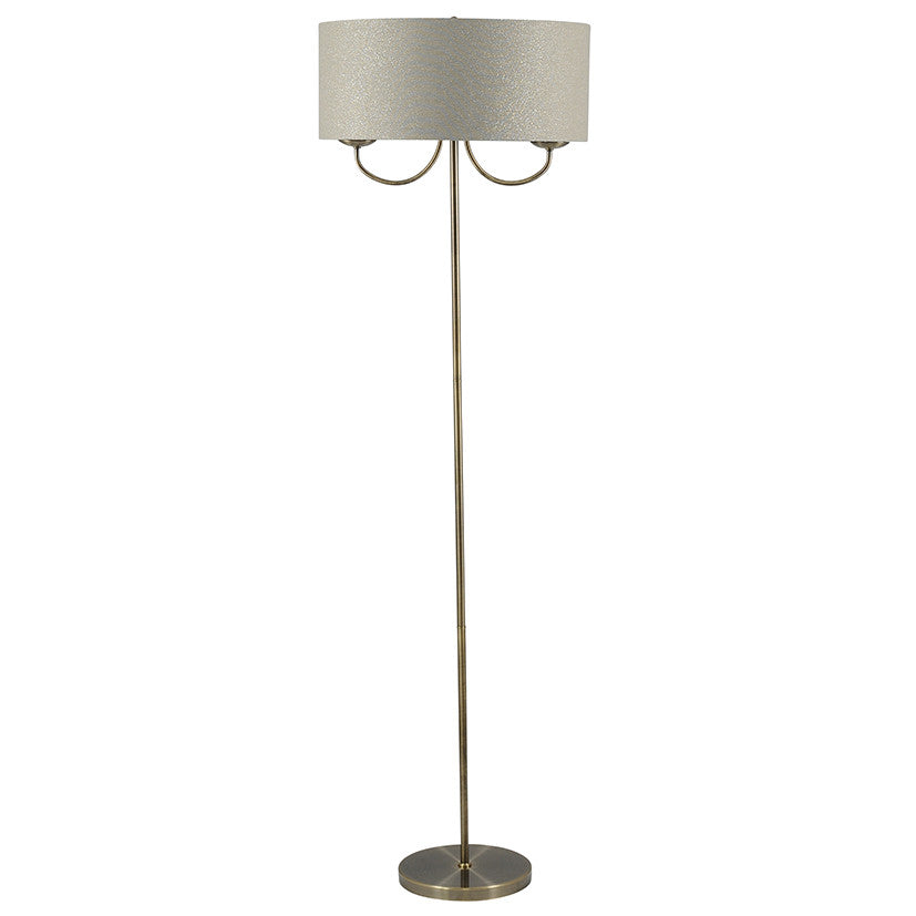 2 Light Antique Brass Shade Floor Lamp