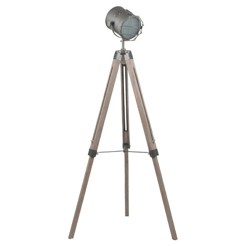 Grey Metal And Antique Wood Tripod Floor Marine Lamp