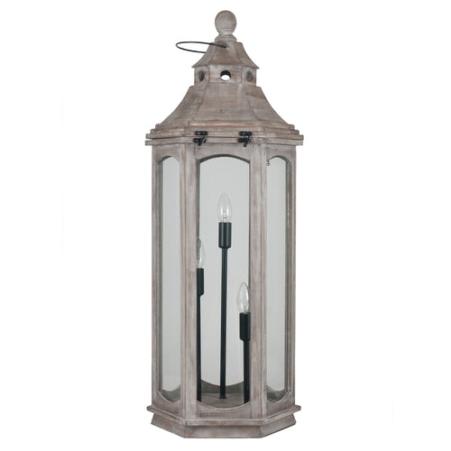 Antique Wood Grey Floor Lamp Lantern