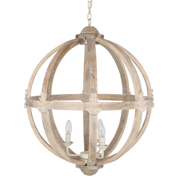 Large Round Wooden Electrified Pendant