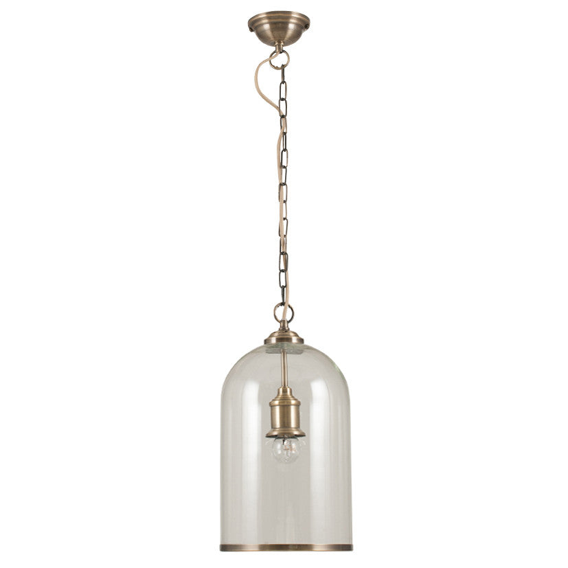 Clear Glass & Brass Electrified Pendant