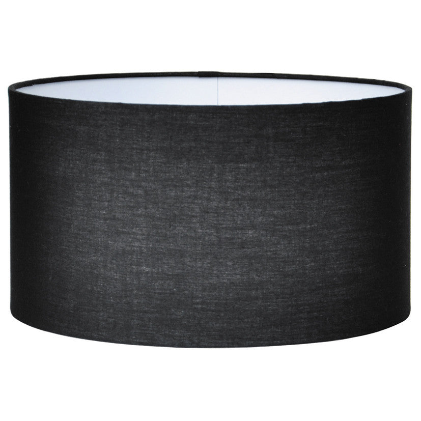 25cm Black Poly Cotton Cylinder Drum Shade