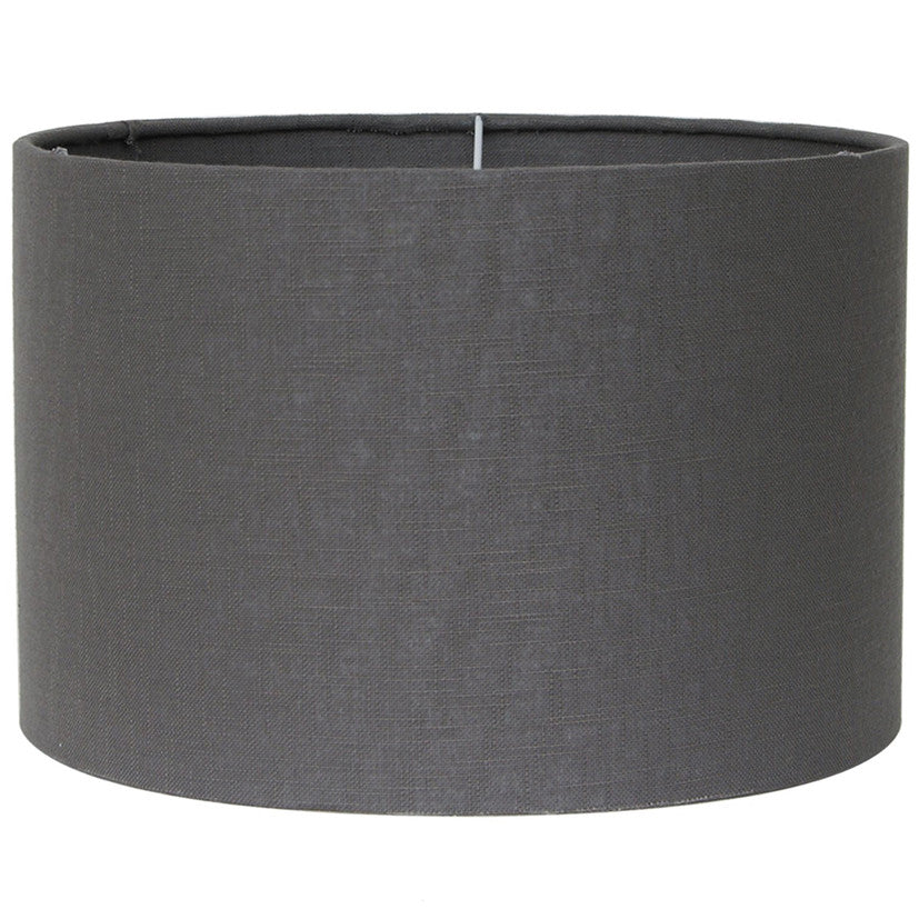 40cm Grey Double Lined Linen Drum Shade