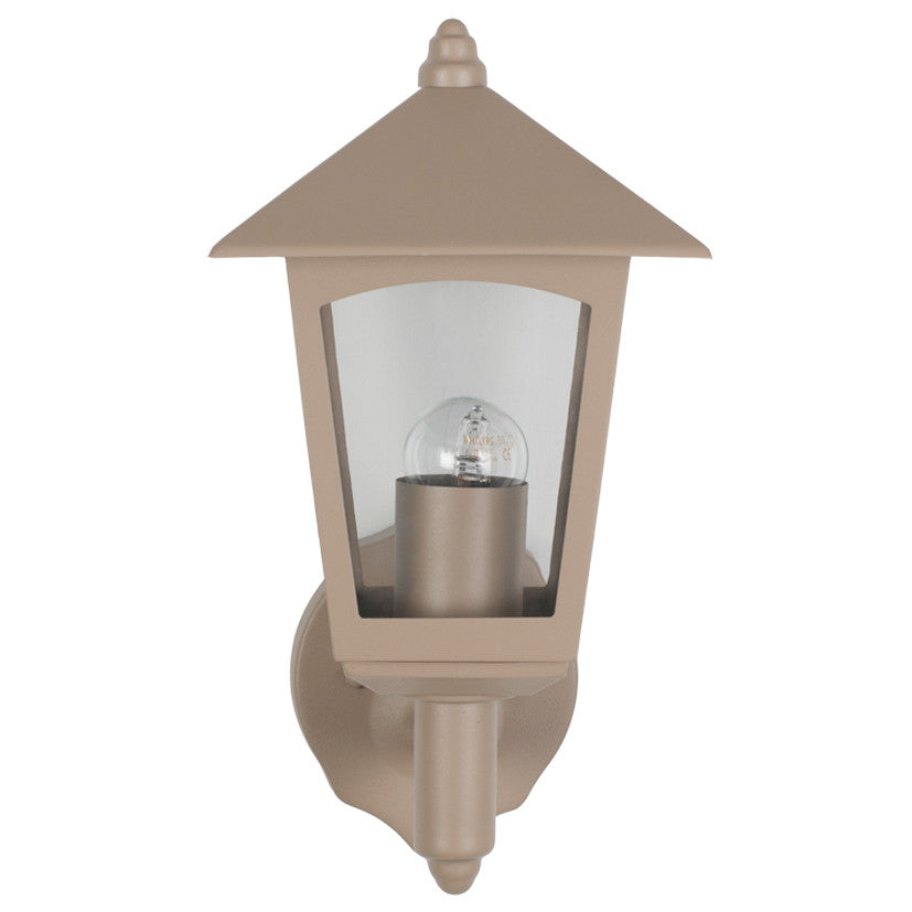 Taupe 4 Sided Lantern Outdoor Wall Light