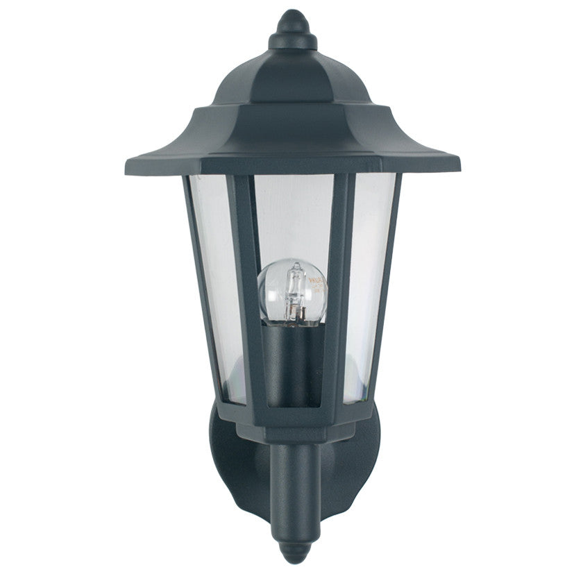 Grey 6 Sided Lantern Outdoor Wall Light