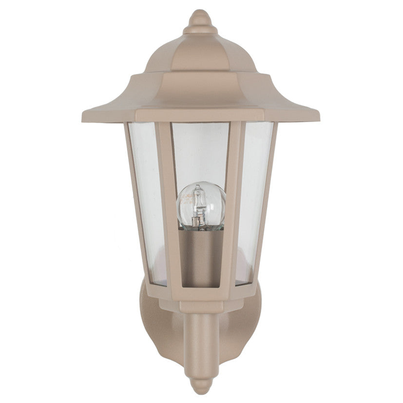 Taupe 6 Sided Lantern Outdoor Wall Light