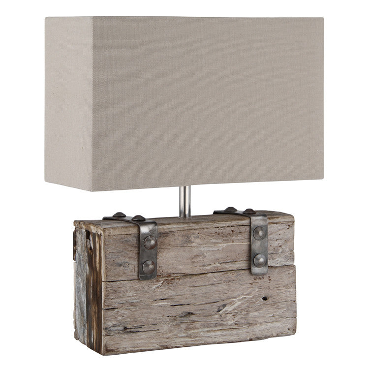 Wood/Metal & Heavy Cotton Table Lamp Complete
