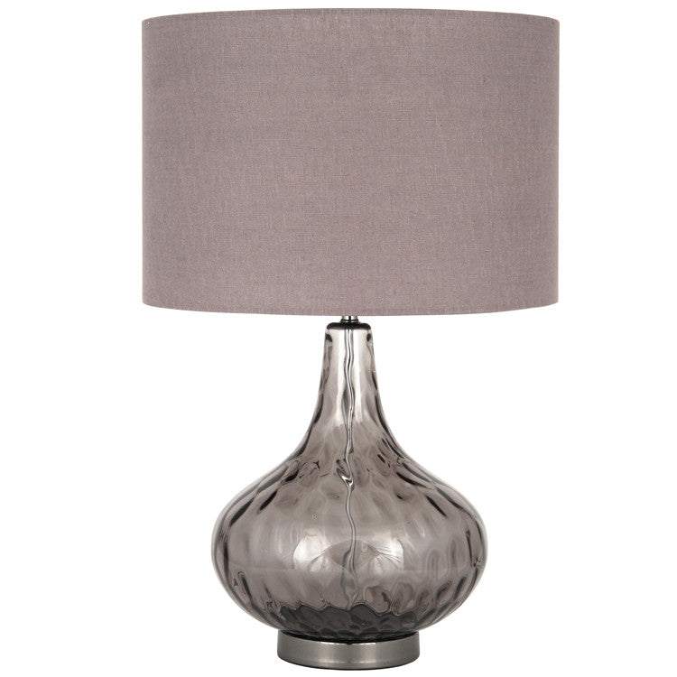 Smoke Glass Dimple Table Lamp Complete