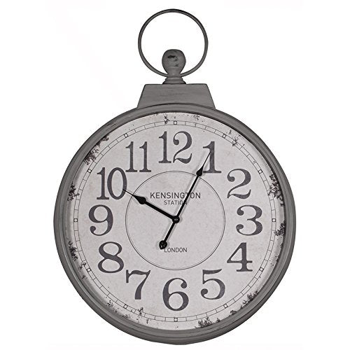 Metal Wall Clock Antique Grey