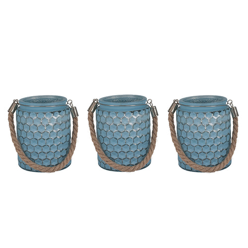 Blue Glass & Rope Set of 3 Round Hurricanes