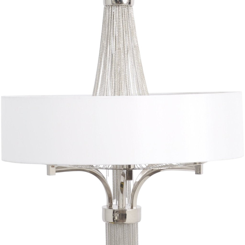 Langan Chandelier Small White Shade And Silver Chains
