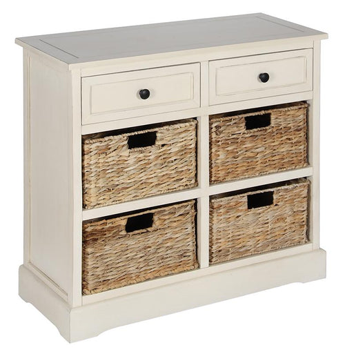Cream Wood 2 Drawer 4 Basket Unit