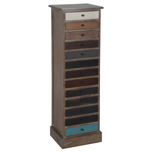 Multicoloured 13 Drawer Tall Unit