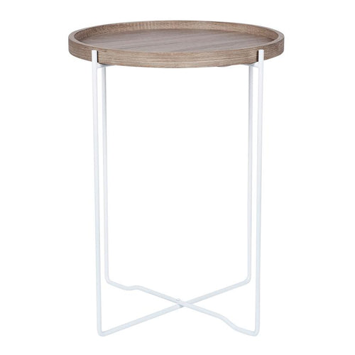 Natural Wood & Iron Round Side Table