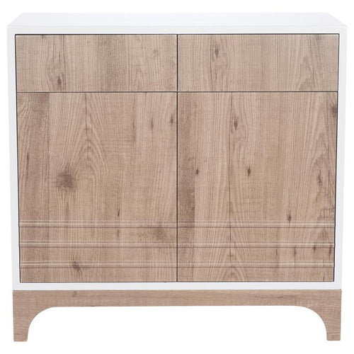 Natural Wood & White PVC 2 Door Cabinet
